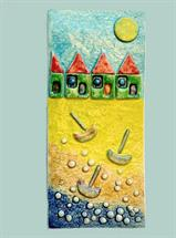 Wall tile with beach scene