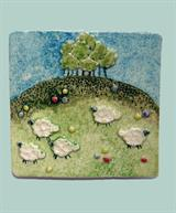 Wall tile with sheep
