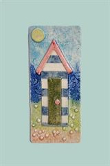 Wall tile with beach hut